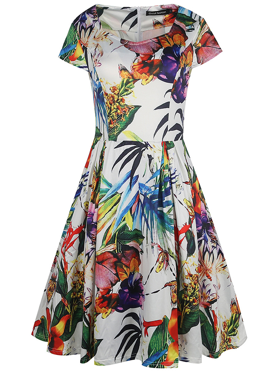 Colorful Printed Sweet Heart Skater Dress