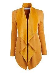 Lapel-Asymmetric-Hem-Zips-Plain-Coat
