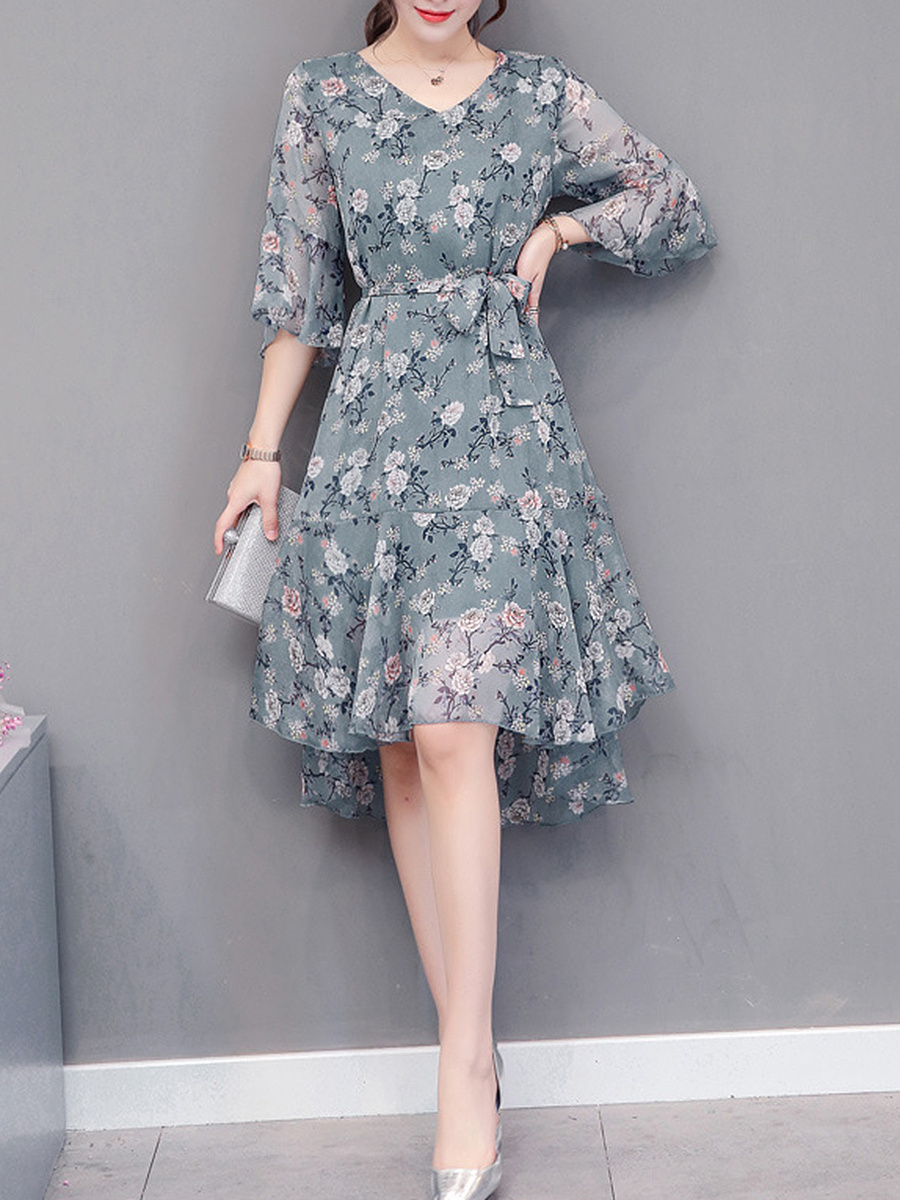 V-Neck  Floral Hollow Out  Chiffon Skater Dresses