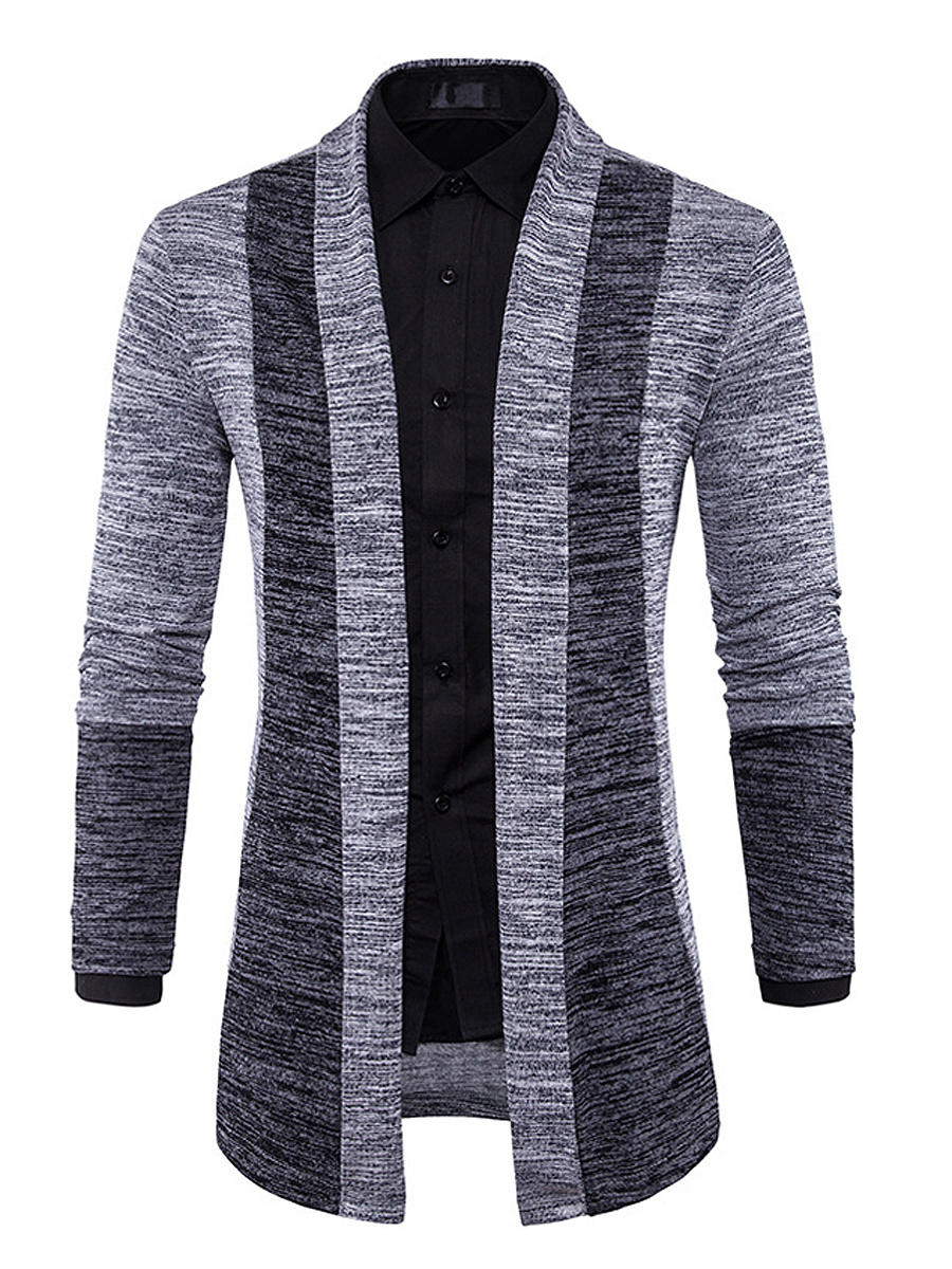 Lapel Color Block Men'S Cardigan
