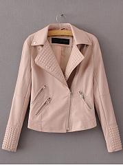 Lapel-Zips-Embossed-Plain-PU-Leather-Biker-Jacket