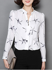 Polyester  V-Neck  Printed  Long Sleeve Blouses