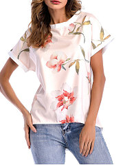 Summer  Cotton  Women  Round Neck  Floral Printed Short Sleeve T-Shirts
