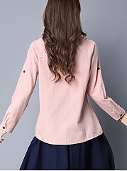 Round Neck Printed Roll-Up Long Sleeve T-Shirt