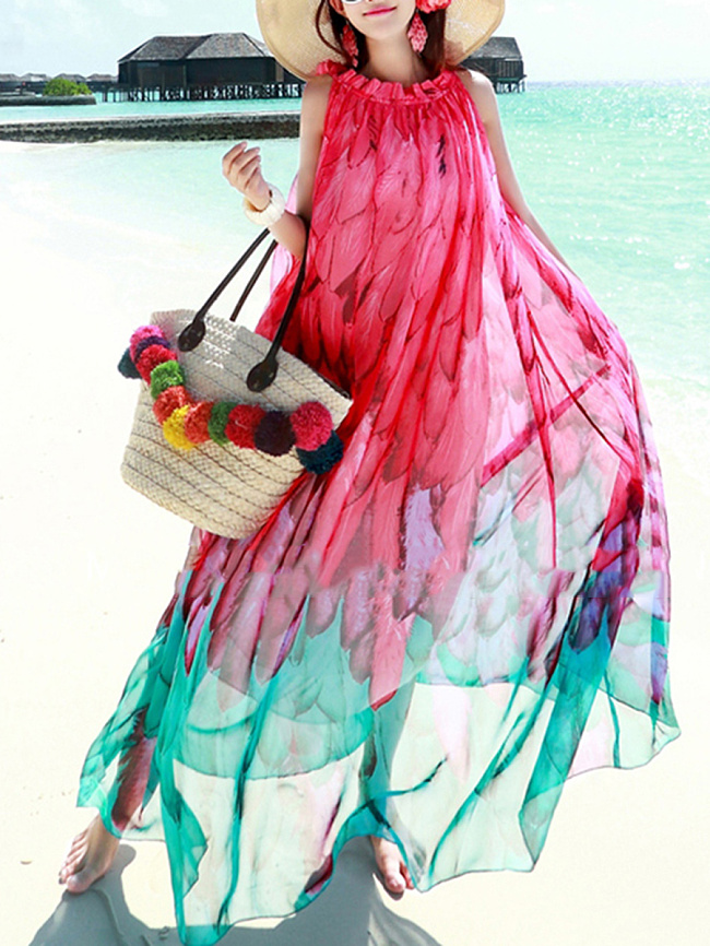 Image of Fashionmia Beach Round Neck Belt Printed Maxi Dress