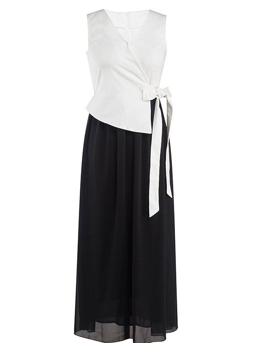 Elegant V-Neck Bowknot Patchwork Color Block Maxi Dress