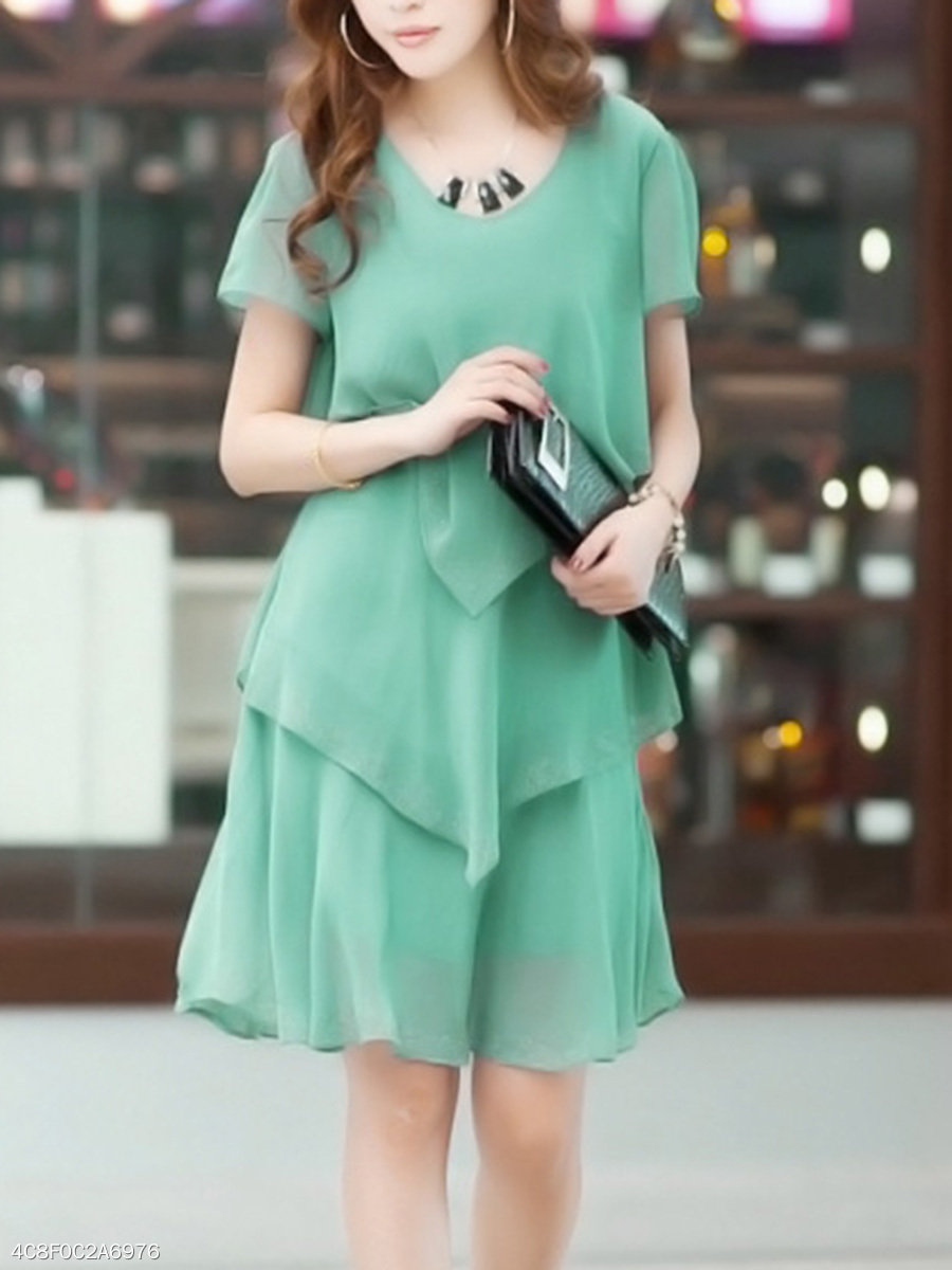 Rhinestone Tiered Plain Chiffon Round Neck Shift Dress