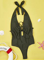 Halter  Lace-Up  Plain One Piece