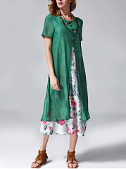 Round Neck  Patchwork Slit  Printed Maxi Dress