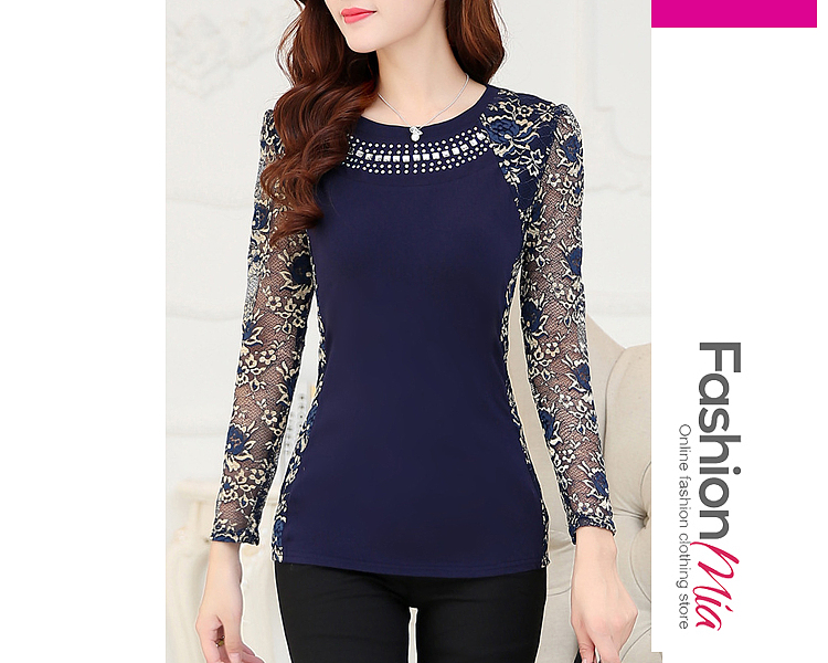 gender:women, hooded:no, thickness:regular, brand_name:fashionmia, style:elegant*fashion*office outfit, material:blend, collar&neckline:round neck, sleeve:long sleeve, embellishment:beading, pattern_type:hollow out*lace, how_to_wash:hand wash only, occasion:date, season:autumn, package_included:top*1, length:61,shoulder:35,sleeve length:55,bust:84,