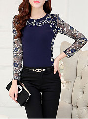 Autumn  Blend  Round Neck  Beading  Hollow Out Lace  Long Sleeve Blouses
