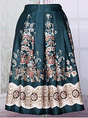 Charming-Printed-Elastic-Waist-Flared-Midi-Skirt