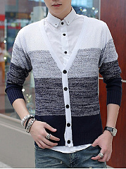 Single Breasted Gradient Striped Men'S Cardigan