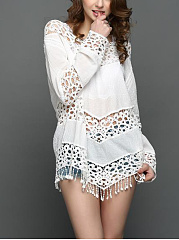 Fringe-Patchwork-See-Through-Crochet-Plain-Tunic