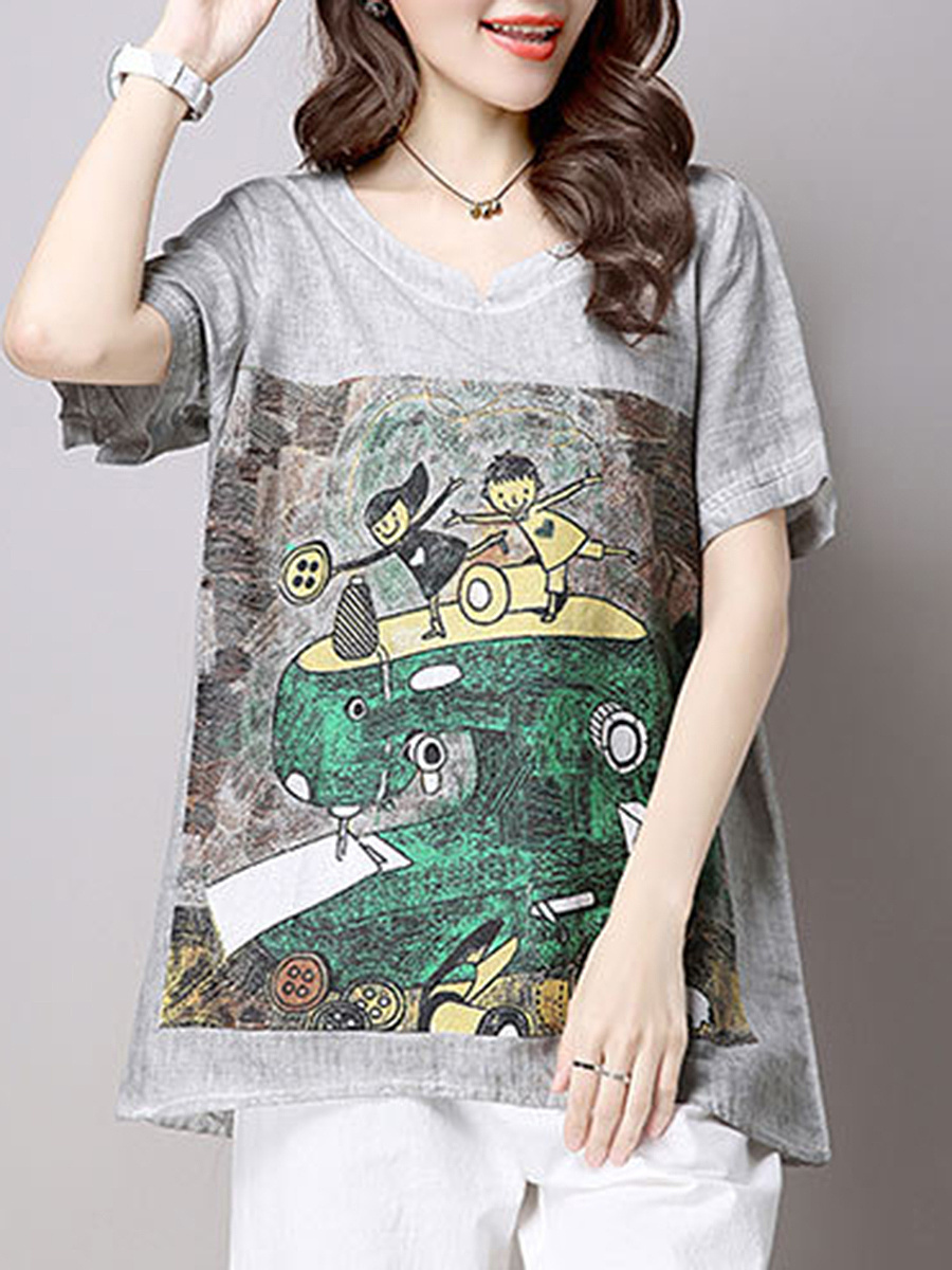 Split Neck  Cartoon Printed Short Sleeve T-Shirt