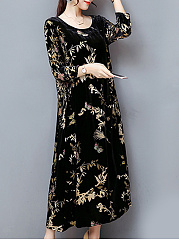Women Printed Velvet Round Neck Long Dress