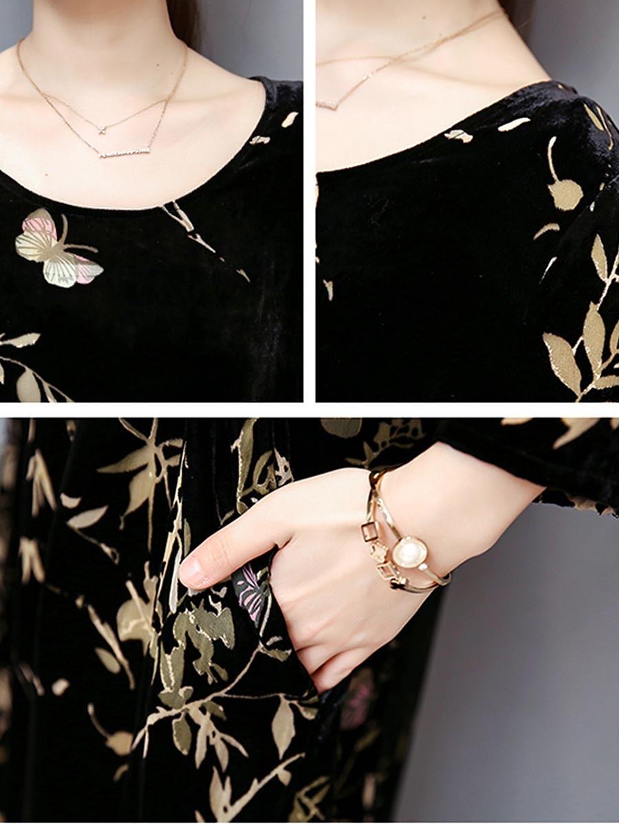 Women Printed Velvet Round Neck Long Dress