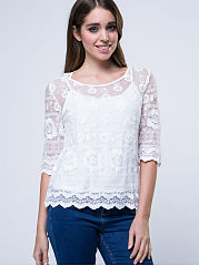 Charming-Round-Neck-Hollow-Out-Plain-Blouse
