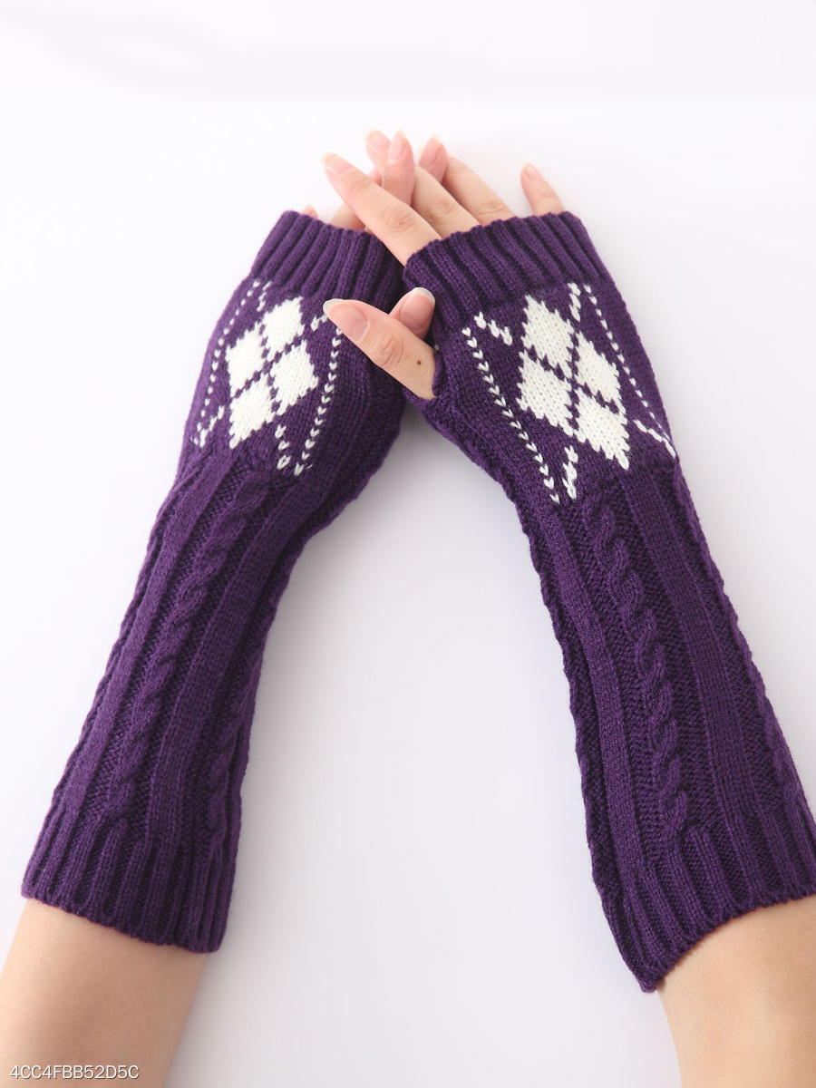 Arm Warmer Fingerless Geometric Long Knit Gloves