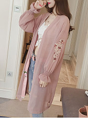 Embroidery  Petal Sleeve  Long Sleeve Cardigans