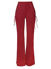 Lace-Up-Plain-Wide-Leg-High-Rise-Casual-Pants