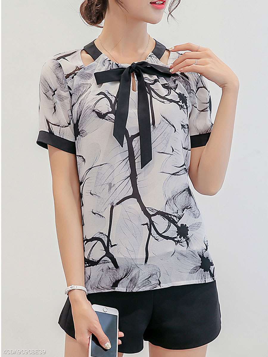 Summer  Polyester  Women  Tie Collar  Floral Printed  Short Sleeve Blouses