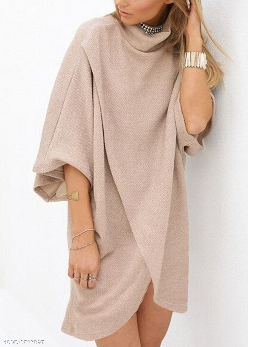 Band Collar  Daily Plain Shift Dress