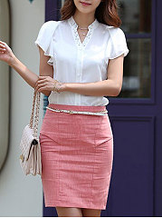 Summer  Chiffon  Women  V-Neck  Single Breasted  Plain  Bell Sleeve  Short Sleeve Blouses