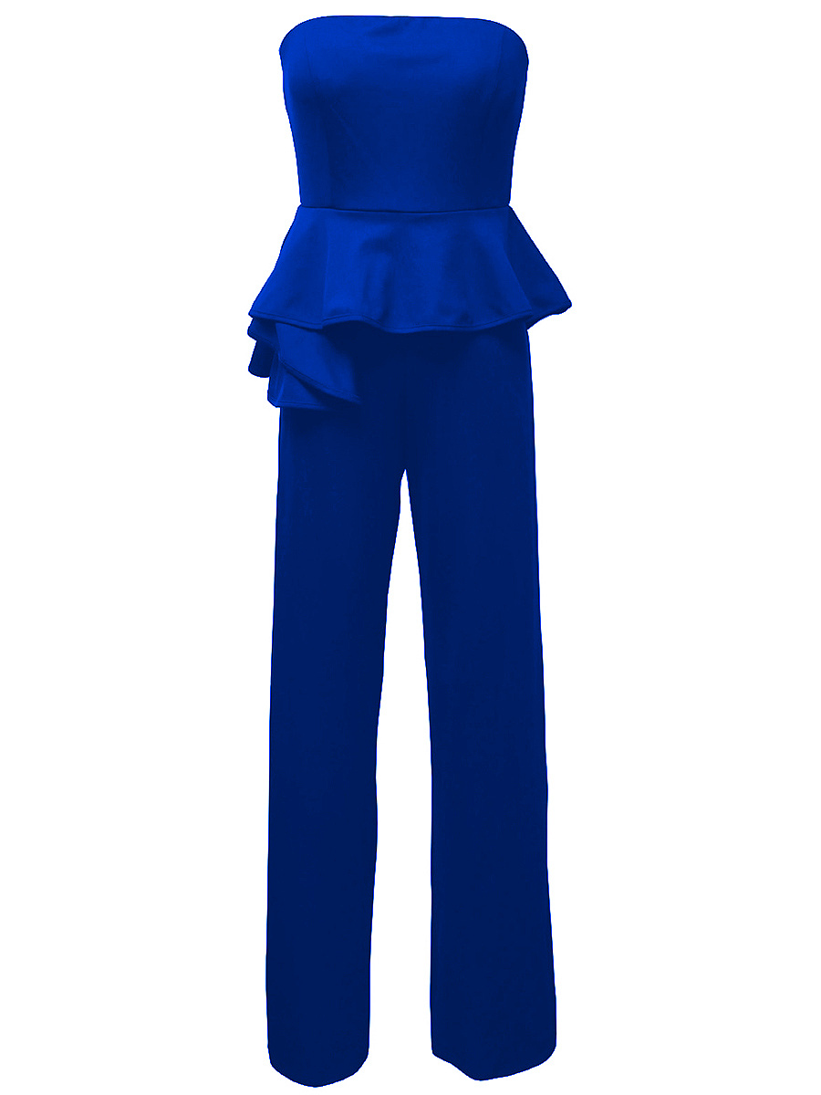 Strapless Peplum Plain Straight Jumpsuit