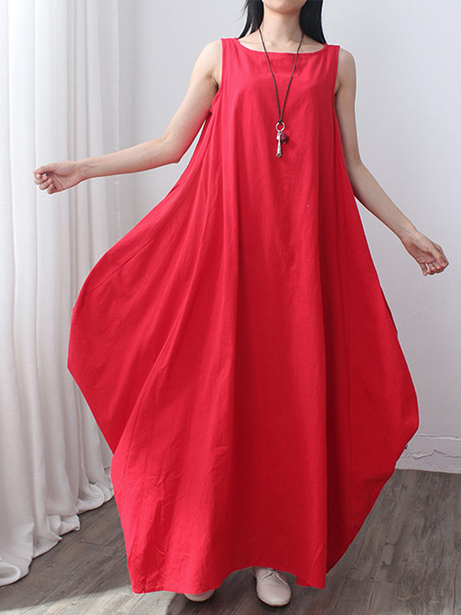 Round Neck Slit Pocket Plain Oversized Maxi Dress