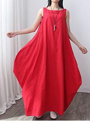 Round-Neck-Slit-Pocket-Plain-Oversized-Maxi-Dress