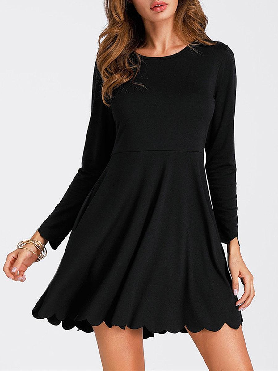 Scalloped Hem Plain Round Neck Skater Dress In Black