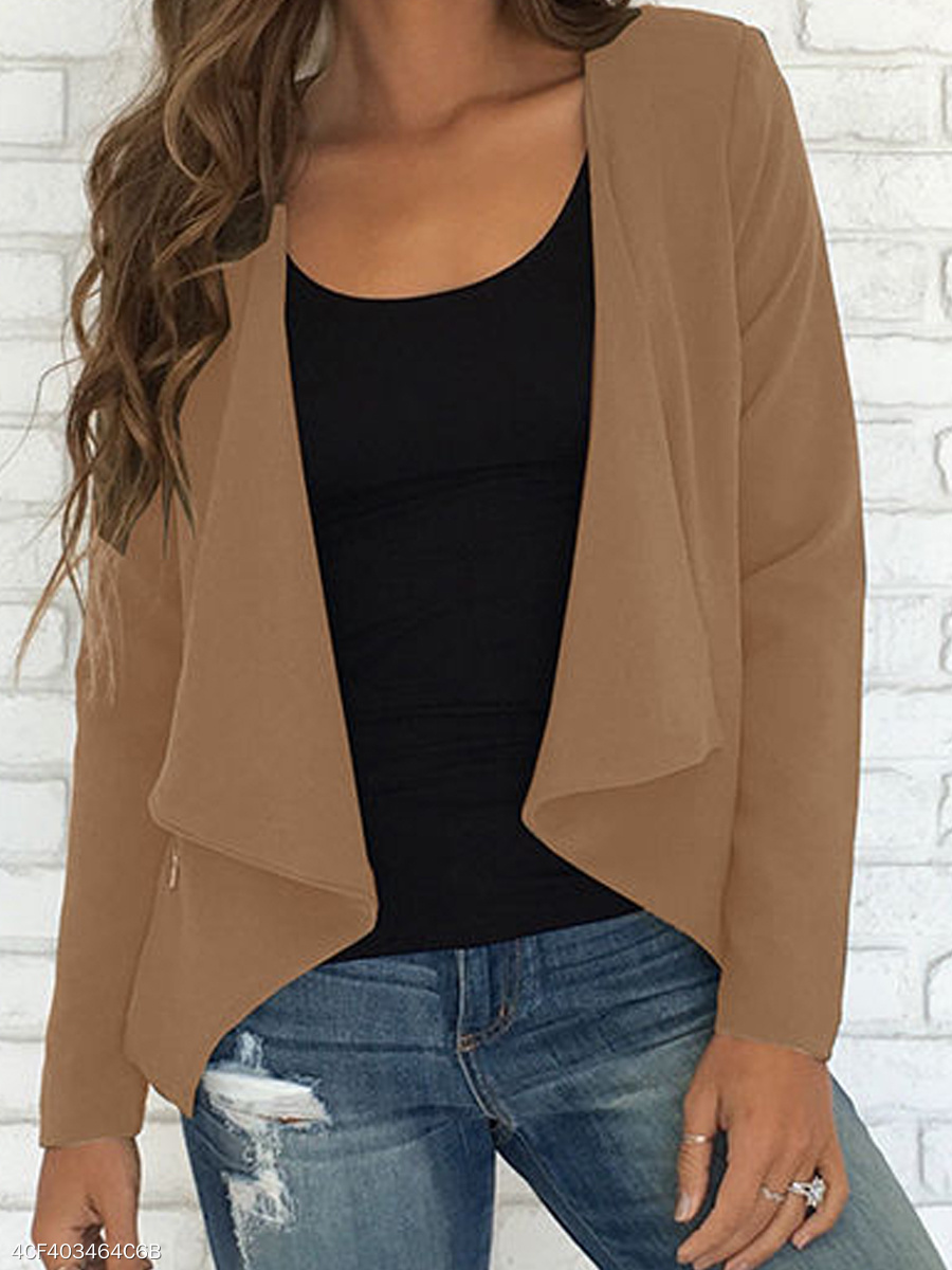 Asymmetric Hem Zips  Plain  Long Sleeve Cardigans