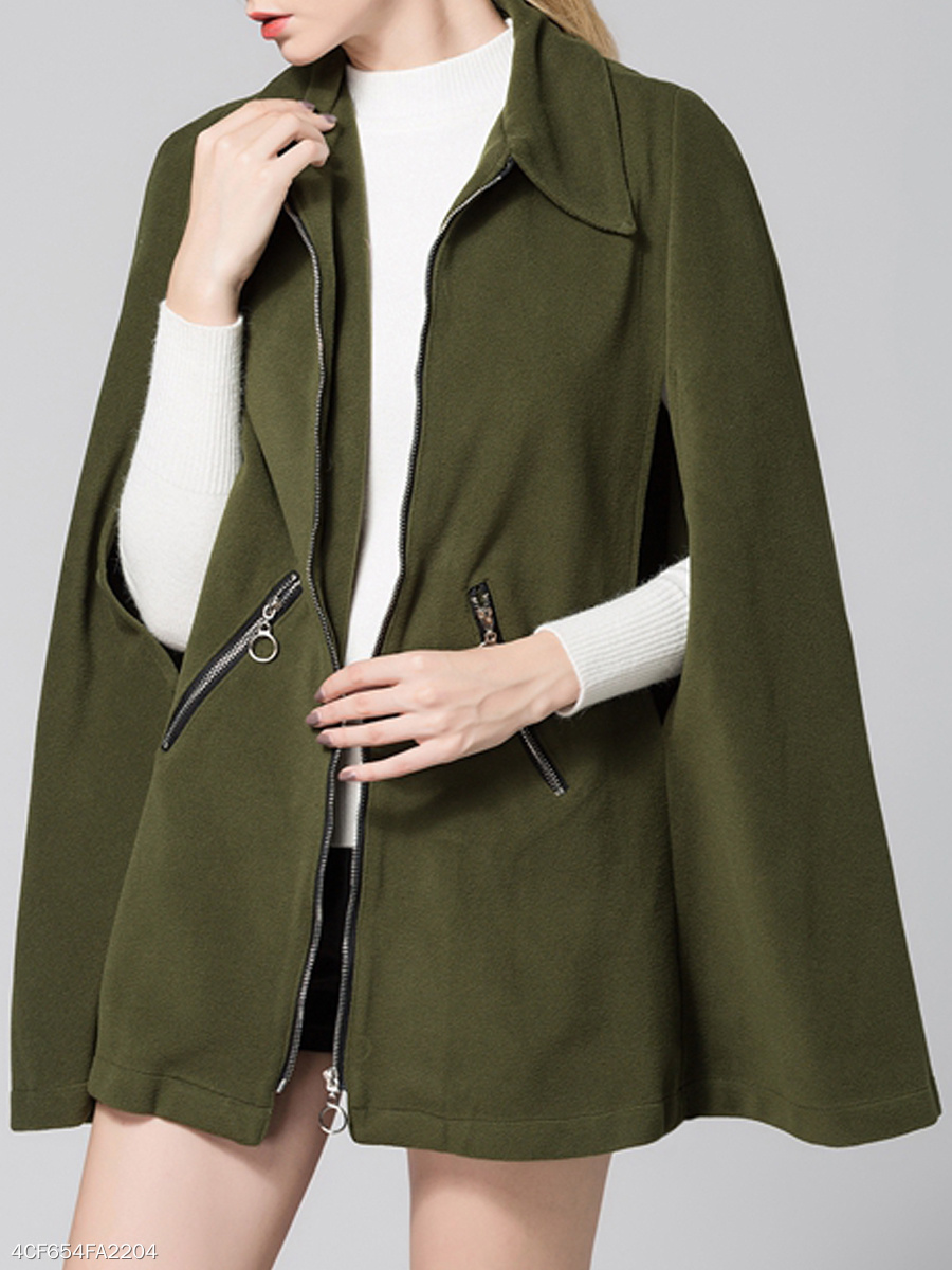 Fold-Over Collar  Zips  Plain  Cape Sleeve Cape