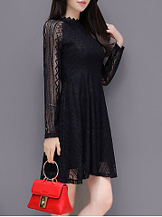 Band Collar Hollow Out Plain Lace Mini Skater Dress