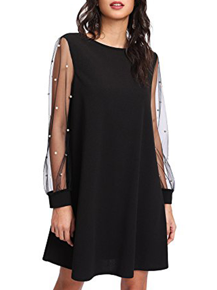 Round Neck  Patchwork See-Through  Plain  Polyester Shift Dress