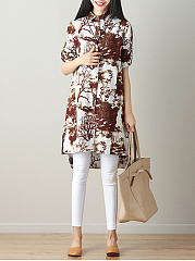 Spring Summer  Cotton/Linen  Women  Turn Down Collar  Asymmetric Hem  Printed  Roll-Up Sleeve  Long Sleeve Blouses