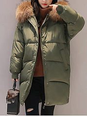 Hooded Plain Pocket Long Padded Coat
