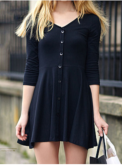 V-Neck Plain Mini Skater Dress