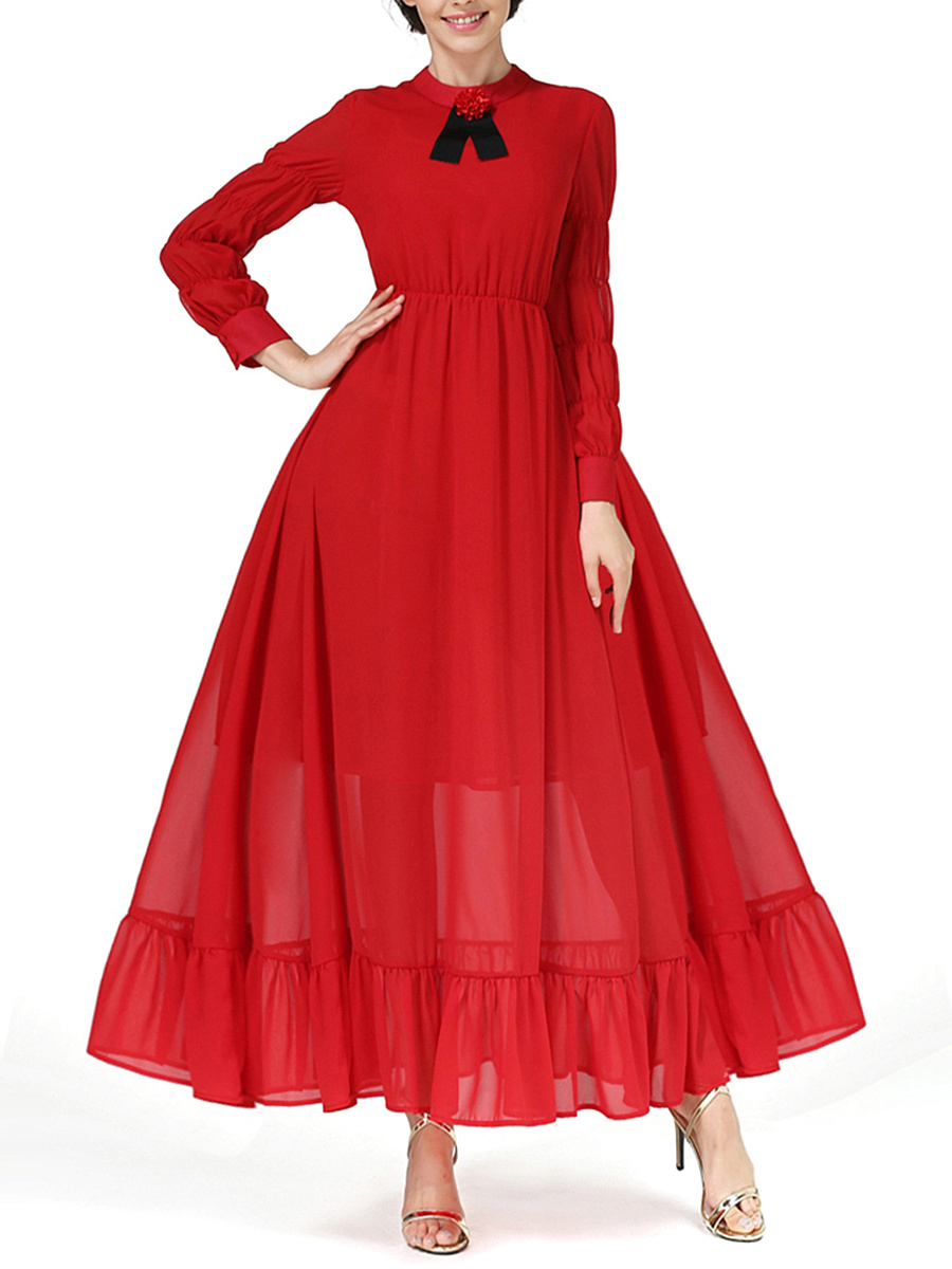 Flowy Band Collar Ruffled Hem Plain Chiffon Maxi Dress