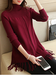 High-Neck-Fringe-Plain-Sweater
