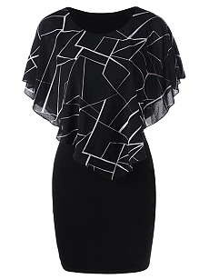 Round Neck  Flounce  Geometric Plus Size Bodycon Dress