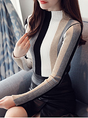 High Neck  Color Block Striped Pullover
