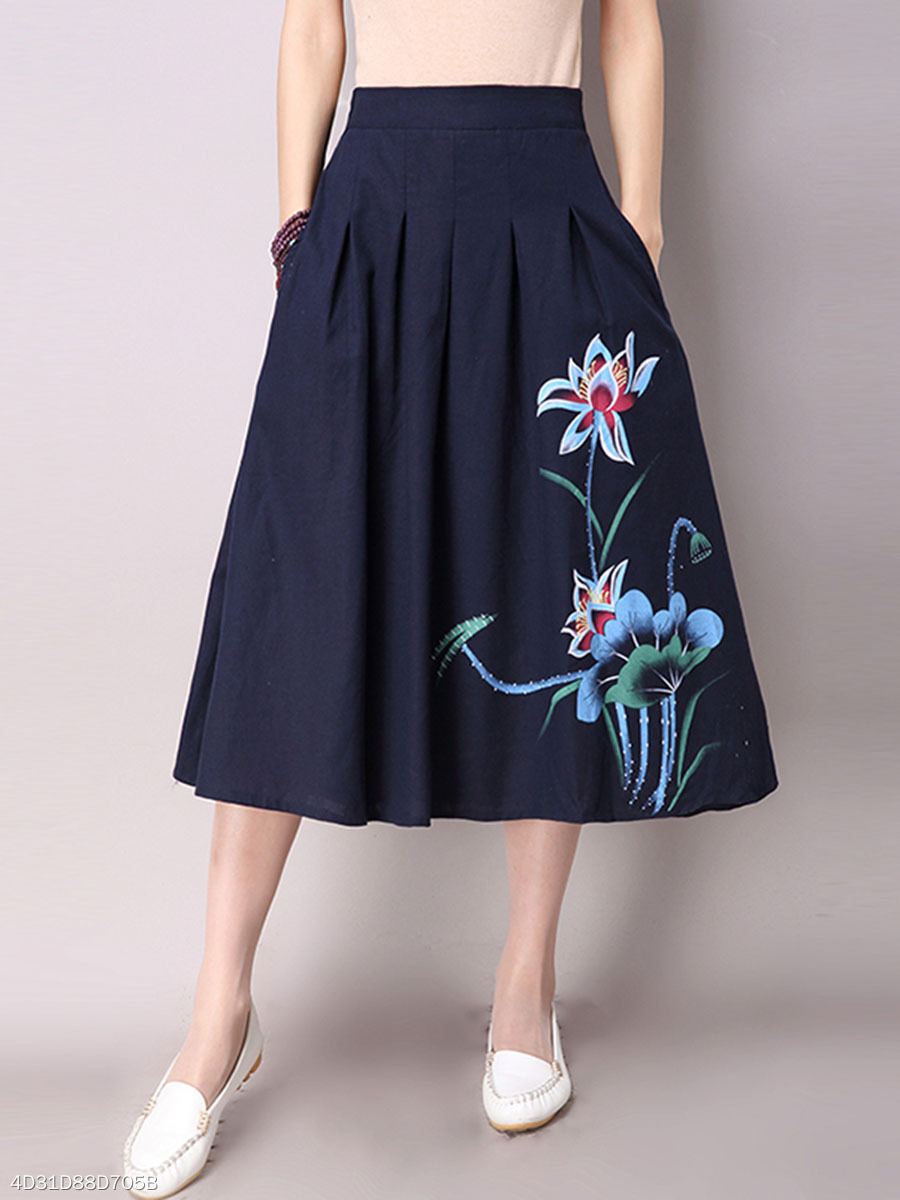 Elastic Waist Pocket Printed Flared Maxi Skirt