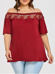 Off Shoulder  Lace Plain  Short Sleeve Plus Size T-Shirts