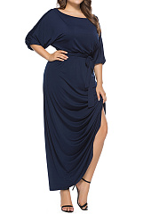 Round Neck  Elastic Waist  Plain Plus Size Midi  Maxi Dress