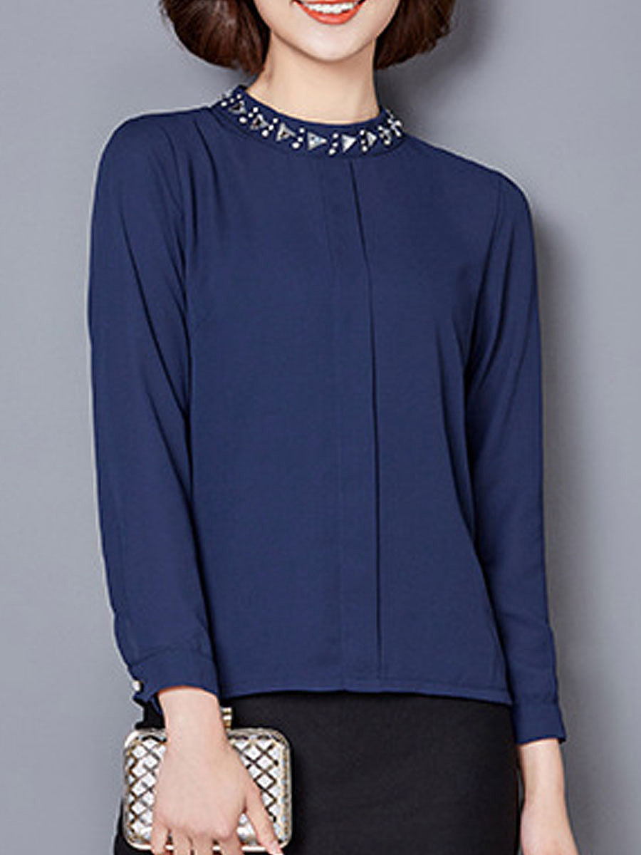 Autumn Spring  Polyester  Women  High Neck  Beading  Plain  Long Sleeve Blouses