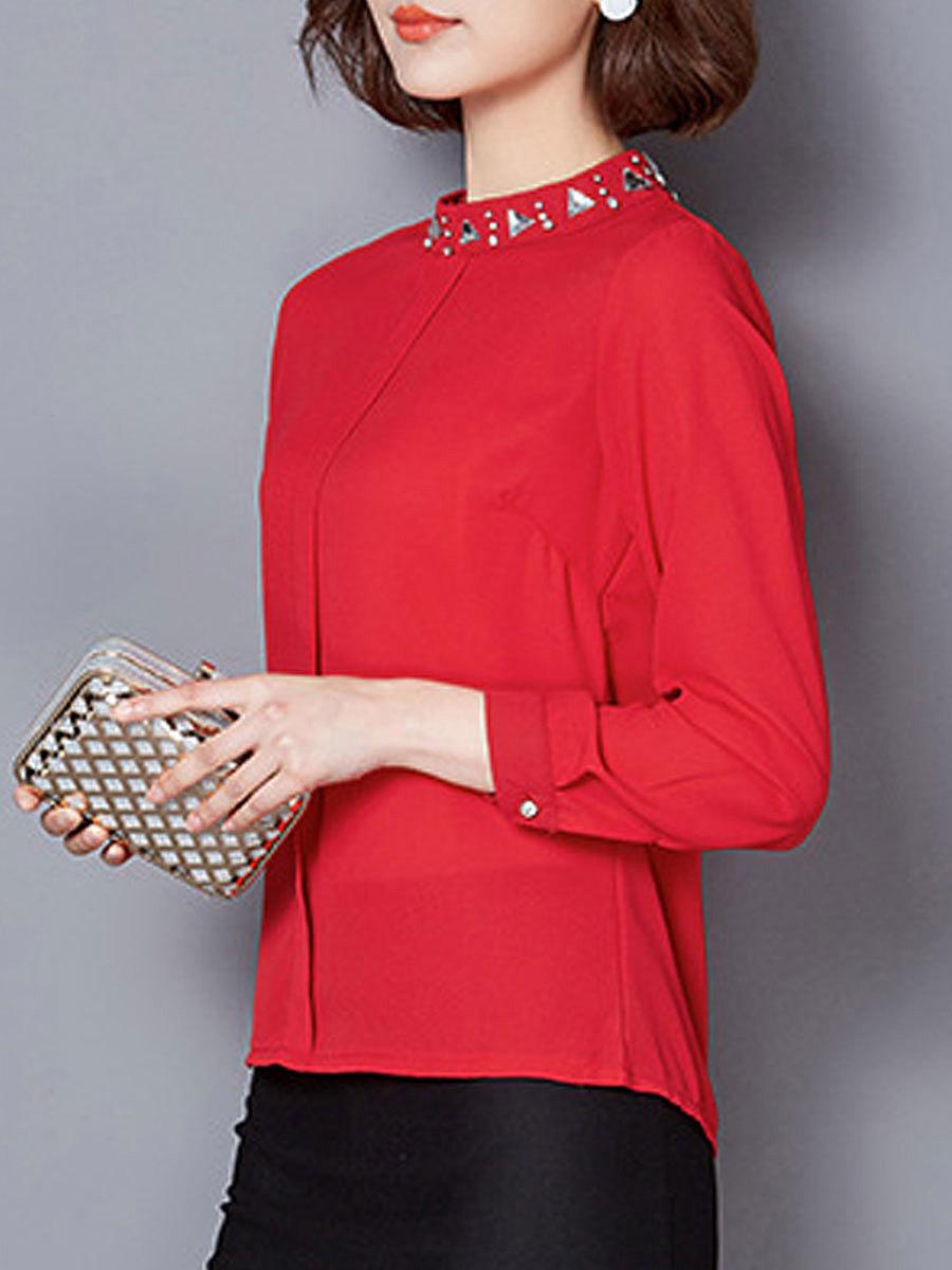 Autumn Spring  Polyester  Women  High Neck  Beading  Plain  Long Sleeve Blouses