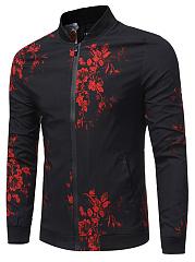 Band-Collar-Floral-Printed-Pocket-Men-Jacket
