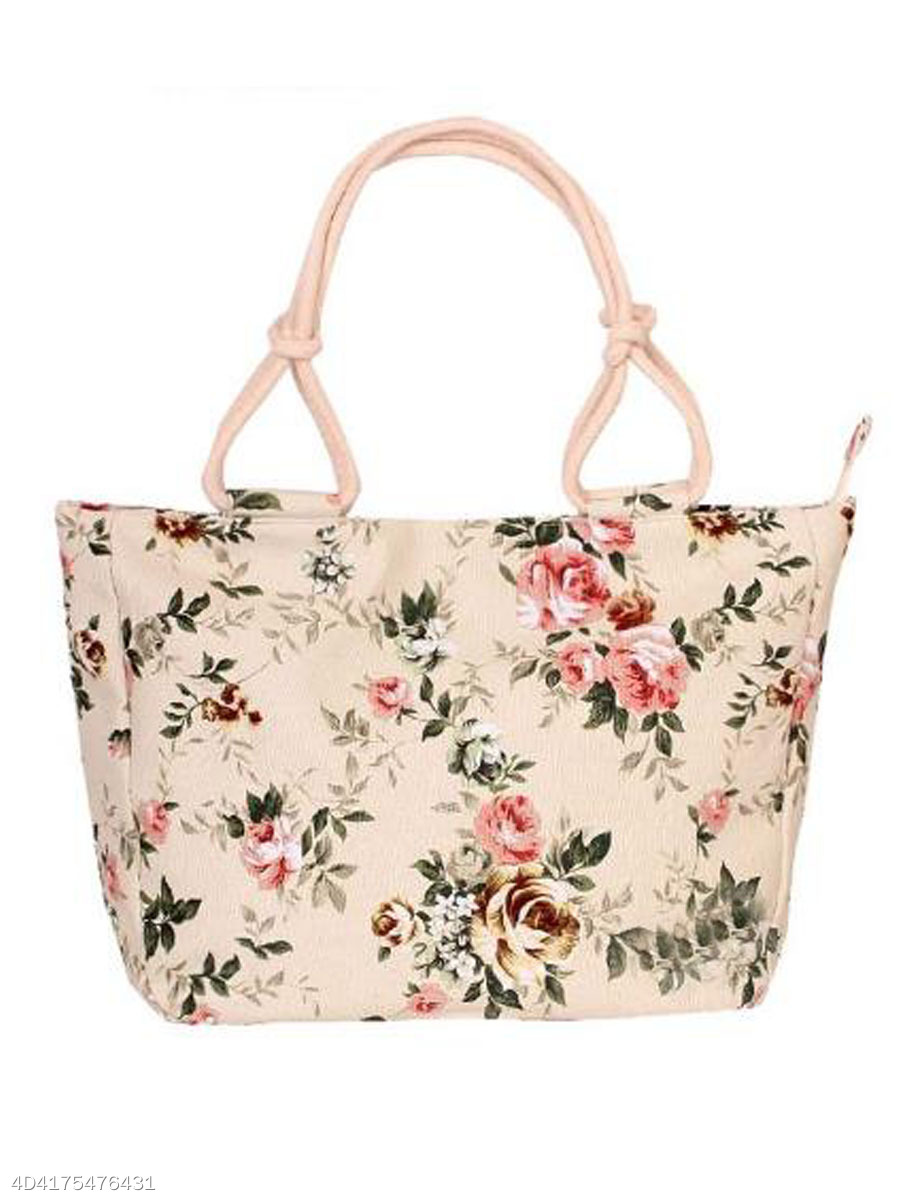 Lady Colorful Popular Floral Printed Canvas Hand Bag